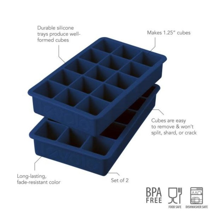 Perfect Cube Ice Trays, Deep Indigo - Set of 2