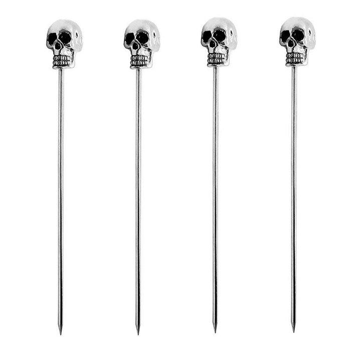 Skull Cocktail Picks - 4 pack, Stainless