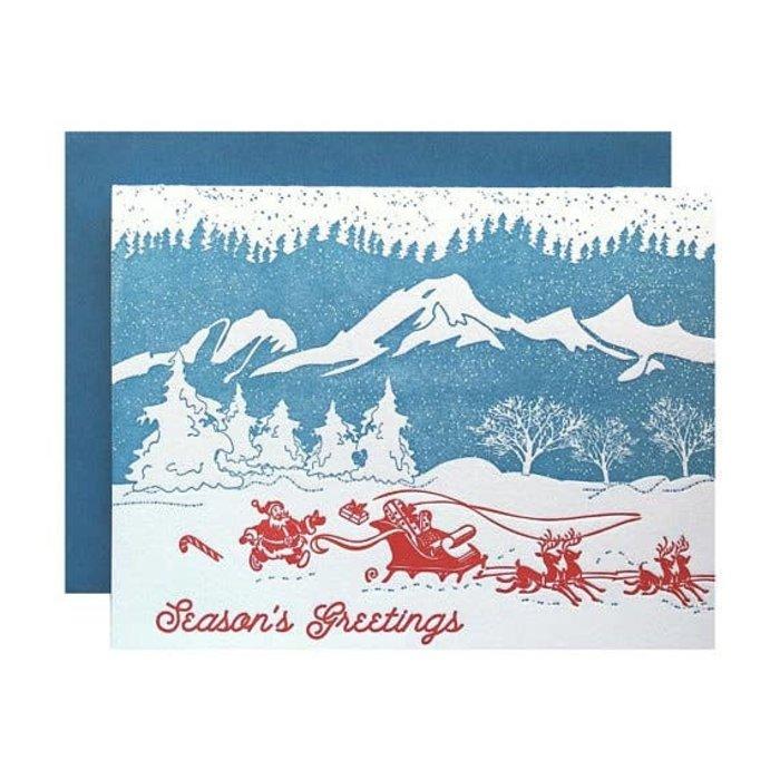 "Violet Press ""Mountain Christmas"" Letterpress Greeting Card"
