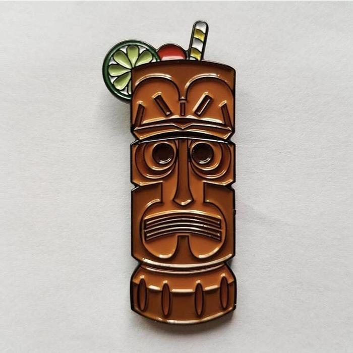Worried Tiki Mug Pin, Enamel