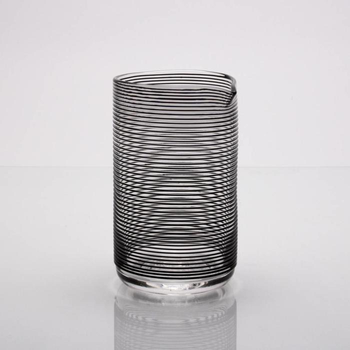 Hand-blown Mixing Glass, Black Striped pattern
