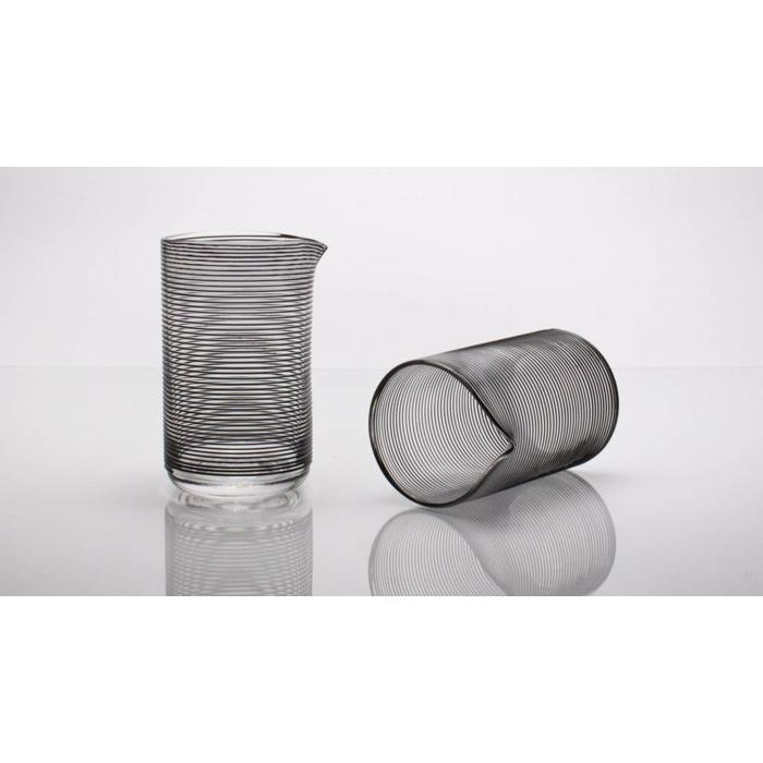 Hand-blown Mixing Glass, Black Striped pattern