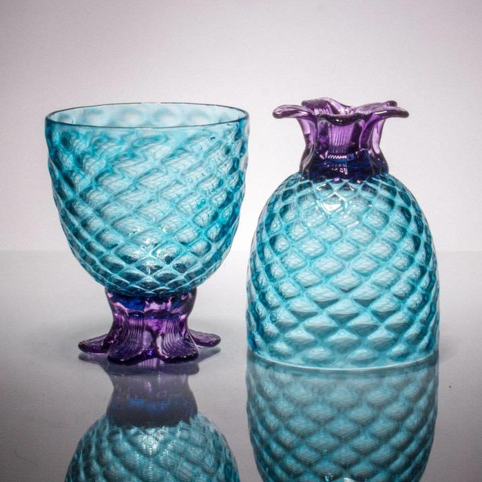 Hand Blown Coppa de Pina, Aqua 12oz