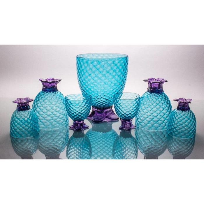 Hand Blown Coppa de Pina, Aqua 32oz