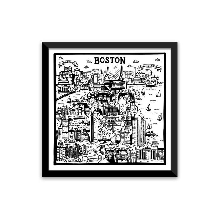 "Boston Map II Print, 10"" x 10"""
