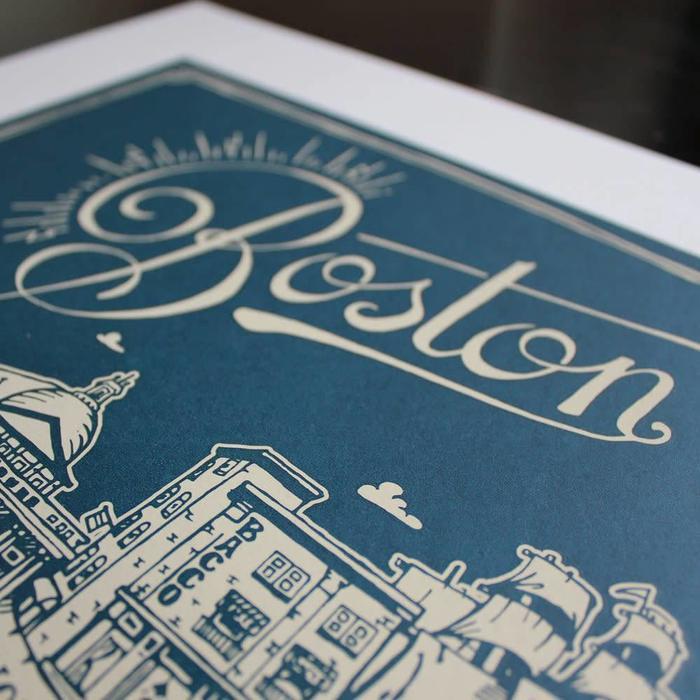 """Boston Map Print, 18"""" x 24"""