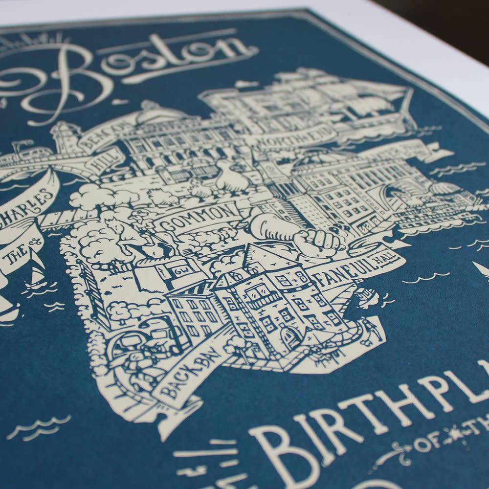 Boston Map Print 18 X 24 The Boston Shaker