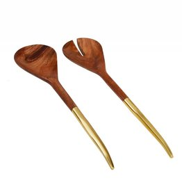 S/2 Wooden Salad Servers With Gold Handle