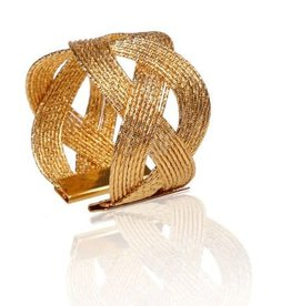 Gold Napkin rings w/ woven design s/6
