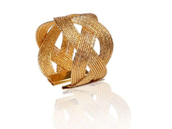 Gold Napkin rings w/ woven design s/6