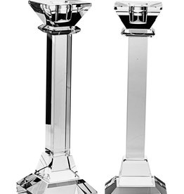 "10"" Square Crystal Candlesticks"