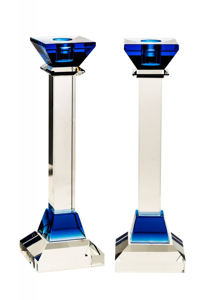 "10"" Blue Square Crystal Candlesticks"