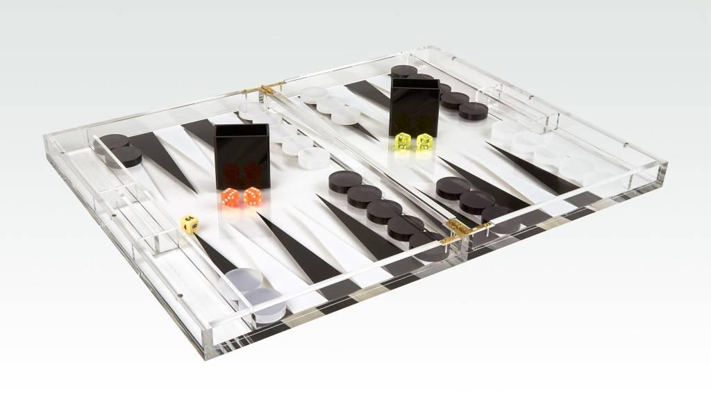 "18"" Lucite Backgammon - Black/White"