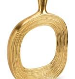 Gold Metal Vase w Stripes 17.75H