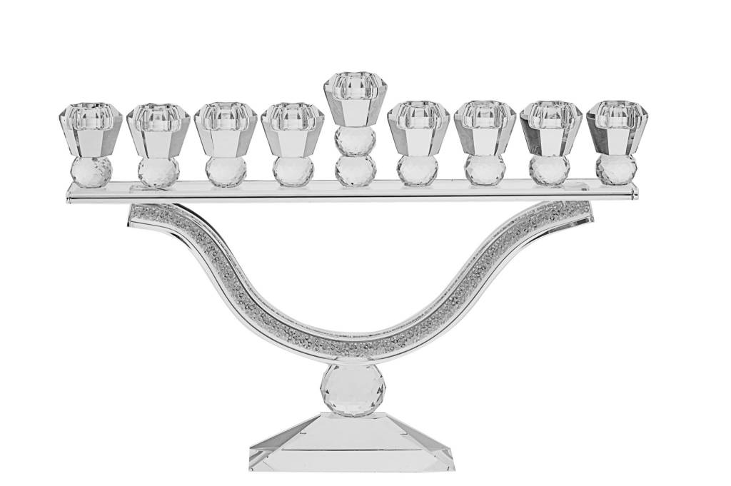 Crystal Menorah with stones 9.75""