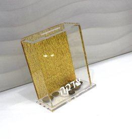 Lucite tzedakah Box - Gold Back