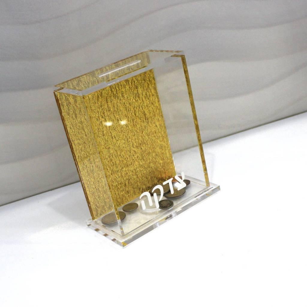 Lucite tzedakah Box - Gold Back