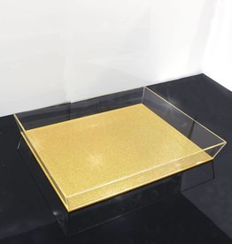 Waterdale Collection Lucite Gold Glitter Tray 11x14
