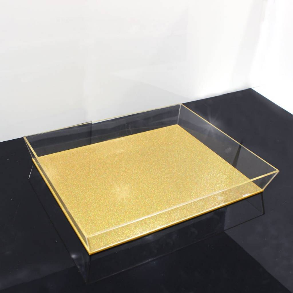 Lucite Gold Glitter Tray 11x14