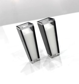 Trapazoid Lucite Black Salt & Pepper Shakers