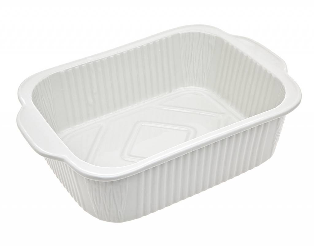 "11.5"" Rectangle white porcelain baker"