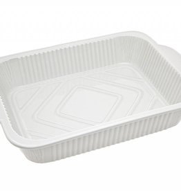 "14"" Rectangle white porcelain baker"