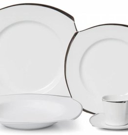 Wave Platinum Square 20 Pc Dinnerware Set