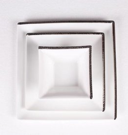 Silver square hammered dinnerware s/6
