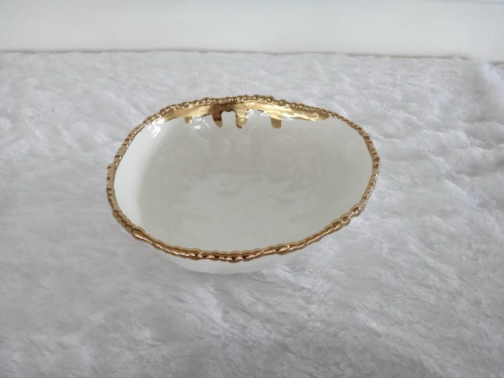 "9.5"" Round Beaded Gold Bowl"