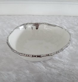 "9.5"" Round Beaded Silver Bowl"