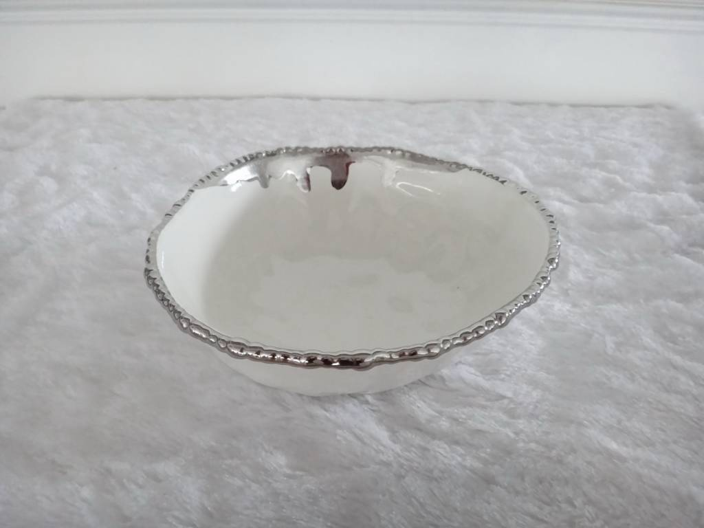 """9.5"""" Round Beaded Silver Bowl"""