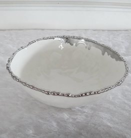 "12"" Round Beaded Silver Bowl"