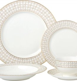 Wedding Band Gold 20 pc Dinnerware set