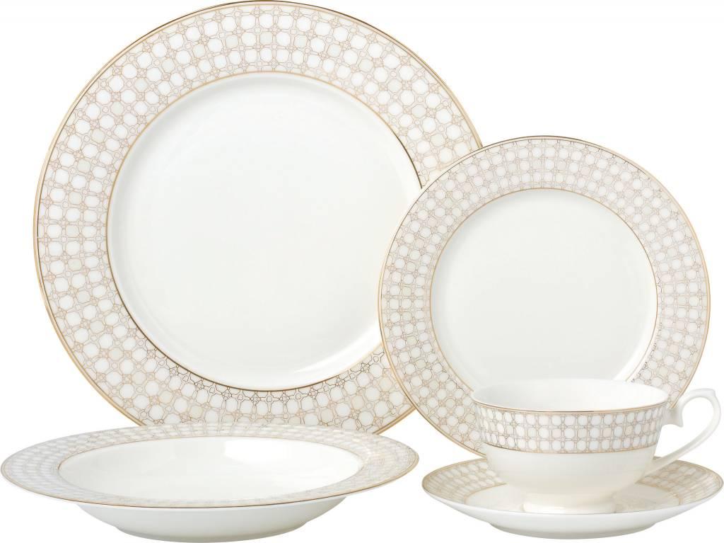 Wedding Band Gold 20 pc Dinnerware set