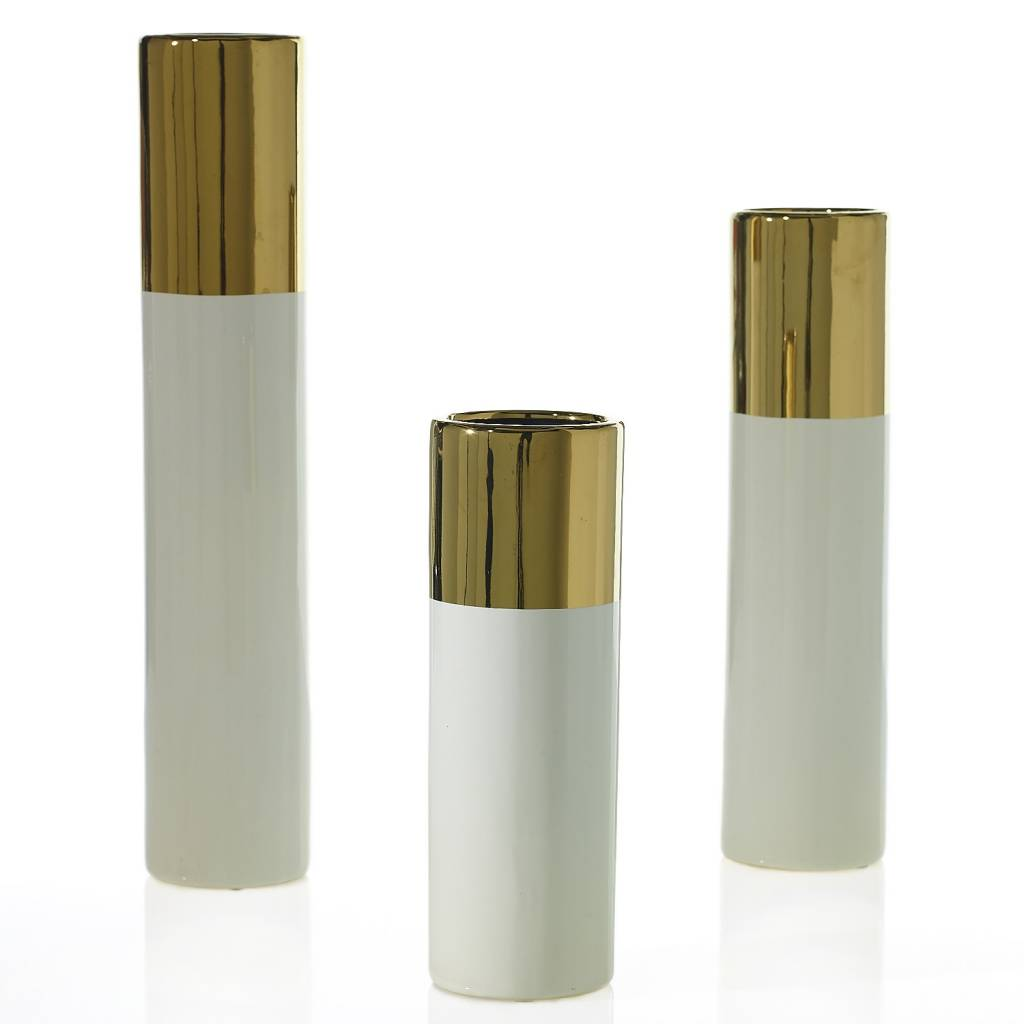 Klein white & gold vase small