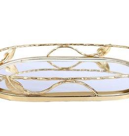 Gold Leaf Oval Mirror Tray