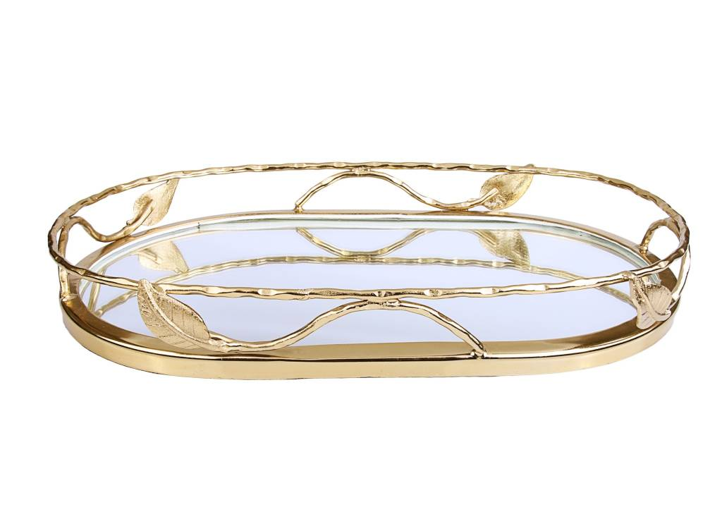 Gold Leaf Oval Mirror Tray
