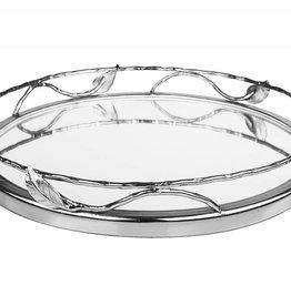 Nickel Leaf Round Mirror Tray