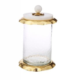 Small glass canister w/ marble & Gold Glass lid