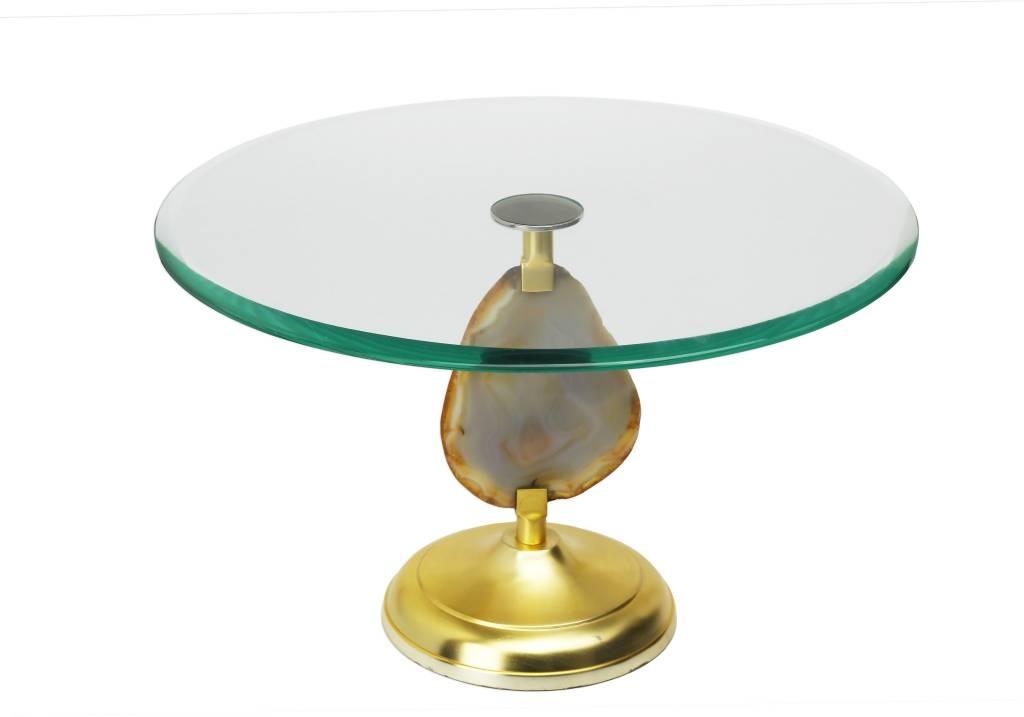 Glass Cake Stand w Agate Stone stem