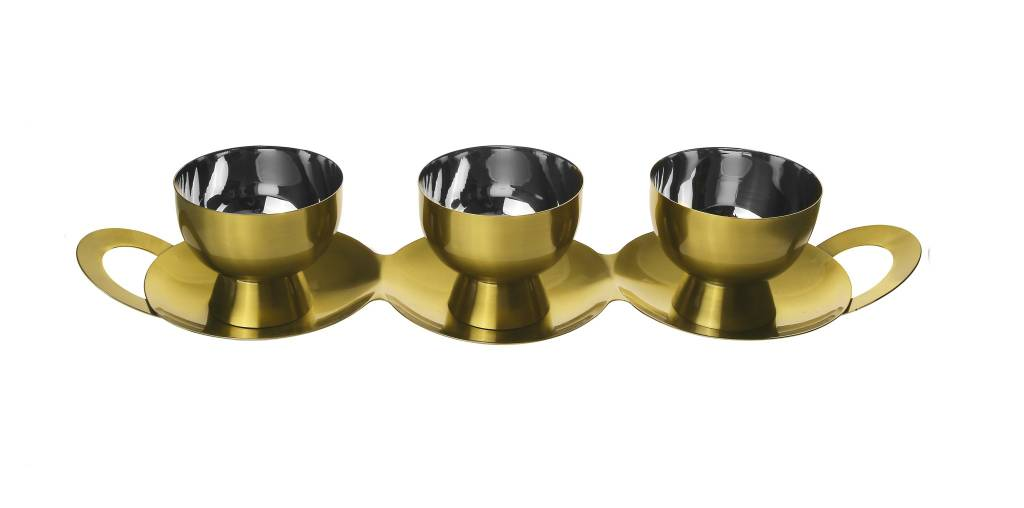 3 Bowl Gold Dip Set w Tray & Spoons