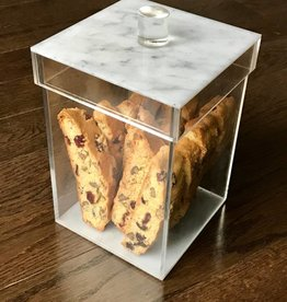 Marble Square Lucite Cookie Jar