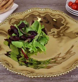 Ceramic beaded gold large round platter