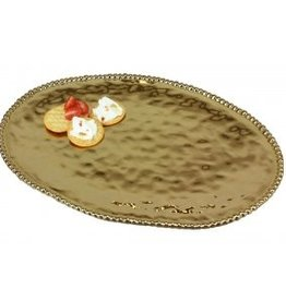 Large ceramic beaded gold oval platter
