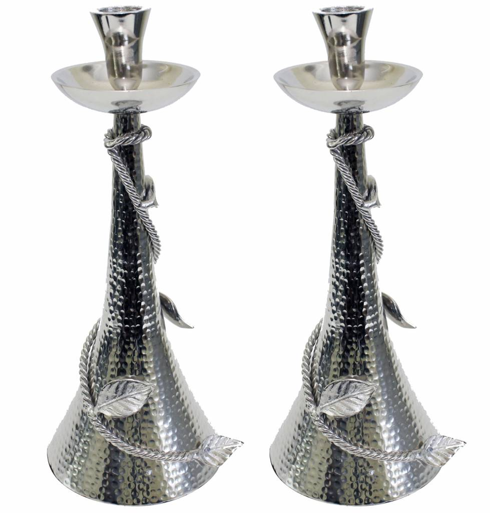 Hammered candlesticks with silver leaf