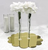 Waterdale Collection Gold Floral Lucite Mirror Charger
