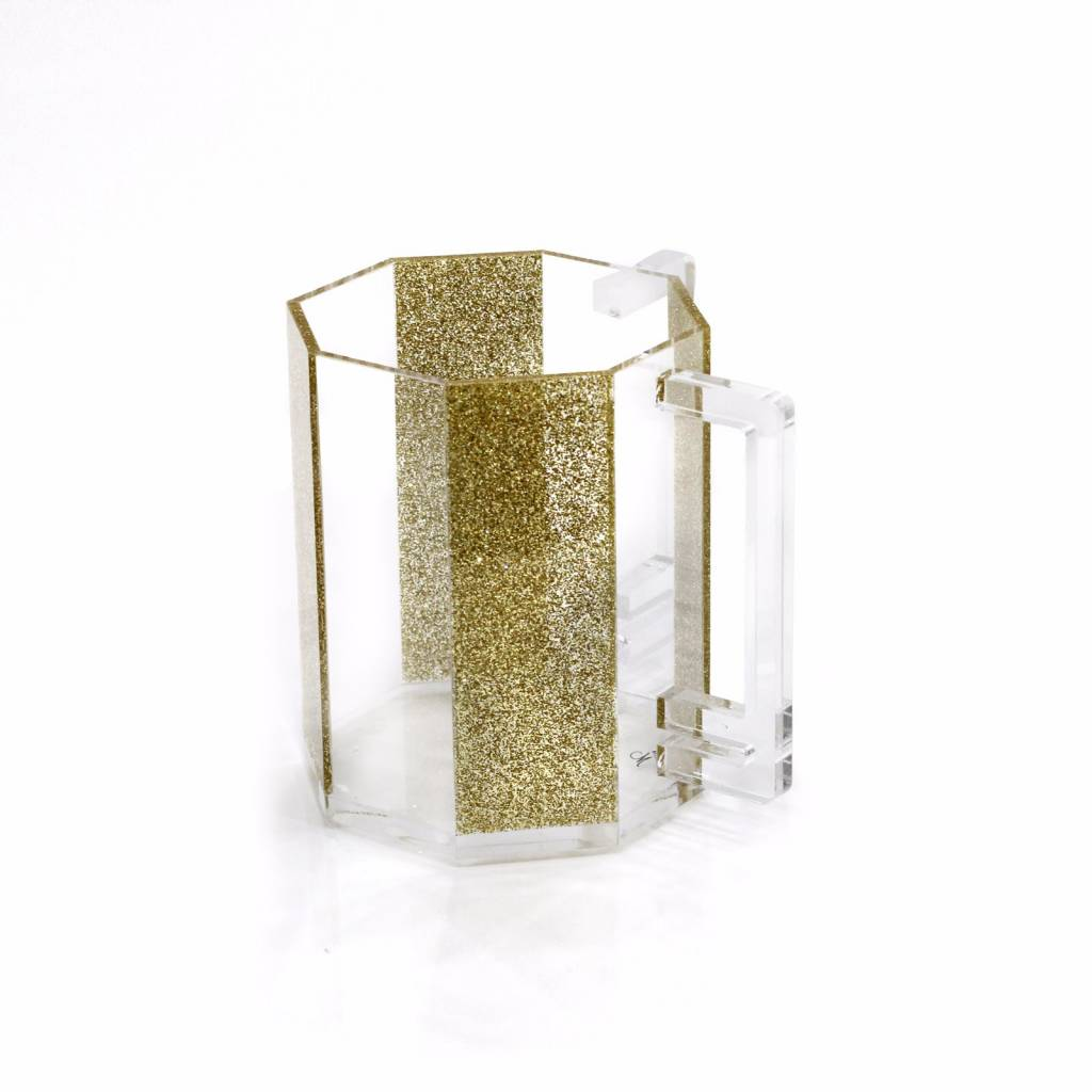 Waterdale Collection Hexagon Gold Glitter Lucite Washing Cup