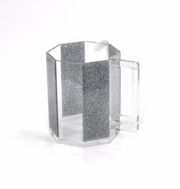 Waterdale Collection Hexagon Silver Glitter Lucite Washing Cup