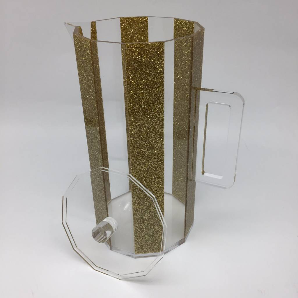 Waterdale Collection Hexagon Gold Glitter Lucite Pitcher