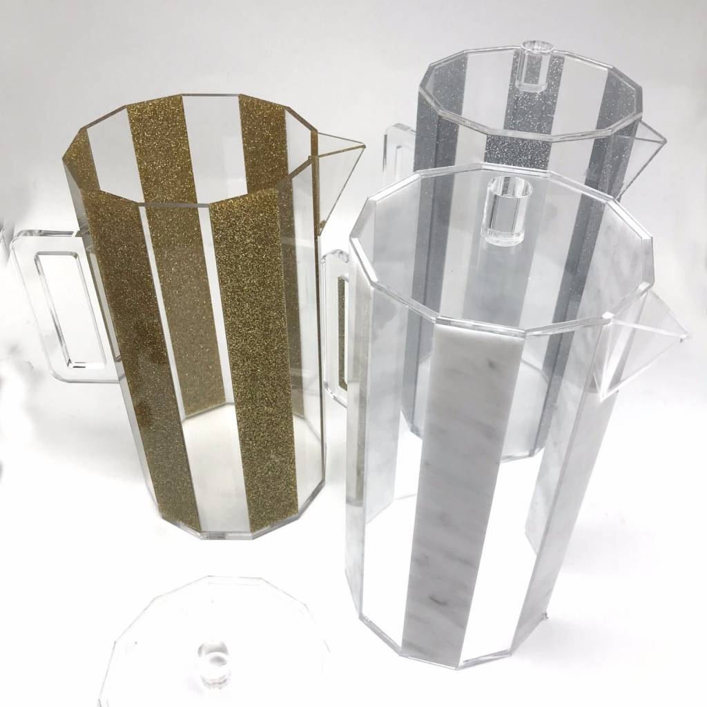 Waterdale Collection Hexagon Silver Glitter Lucite Pitcher
